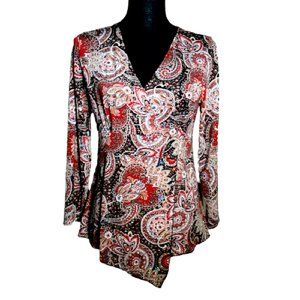 Susan Lawrence Womens M Paisley Sequin Top